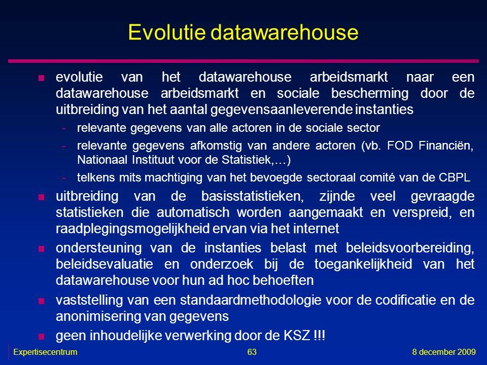 Expertisecentrum8 december 2009 63 Evolutie datawarehouse n evolutie van het datawarehouse arbeidsmarkt naar een datawarehouse arbeidsmarkt en sociale