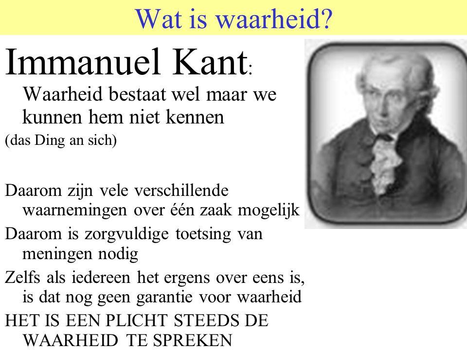 © 2006 JP van de Sande RuG Wat is waarheid? Immanuel Kant : Waarheid bestaat wel maar we kunnen hem niet kennen (das Ding an sich) Daarom zijn vele ve