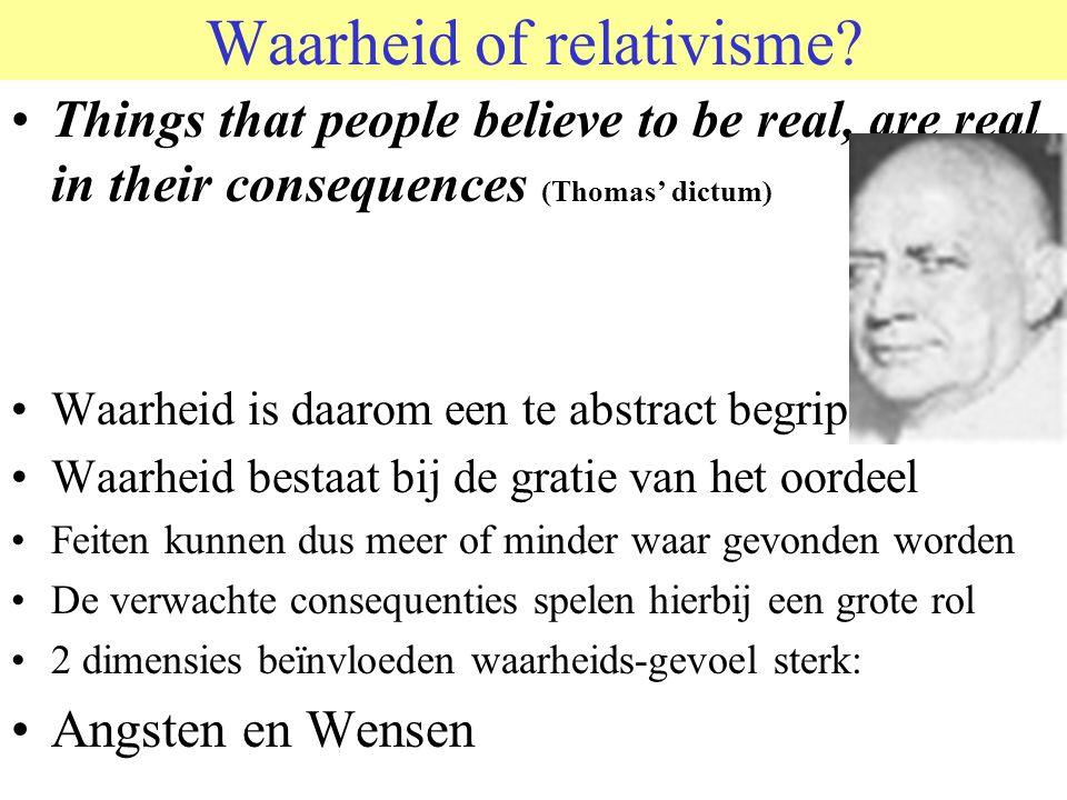 © 2006 JP van de Sande RuG Waarheid of relativisme? •Things that people believe to be real, are real in their consequences (Thomas' dictum) •Waarheid