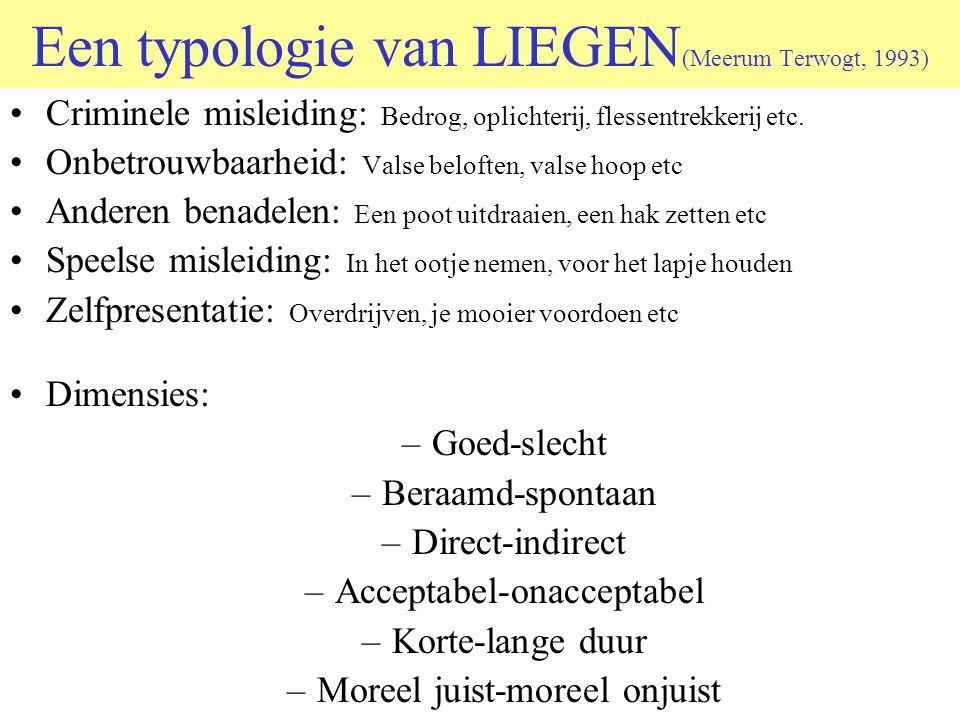Een typologie van LIEGEN (Meerum Terwogt, 1993) •Criminele misleiding: Bedrog, oplichterij, flessentrekkerij etc. •Onbetrouwbaarheid: Valse beloften,