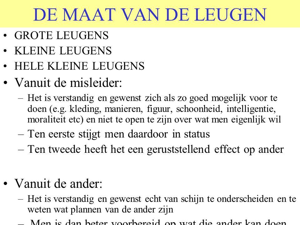 DE MAAT VAN DE LEUGEN •GROTE LEUGENS •KLEINE LEUGENS •HELE KLEINE LEUGENS •Vanuit de misleider: –Het is verstandig en gewenst zich als zo goed mogelij