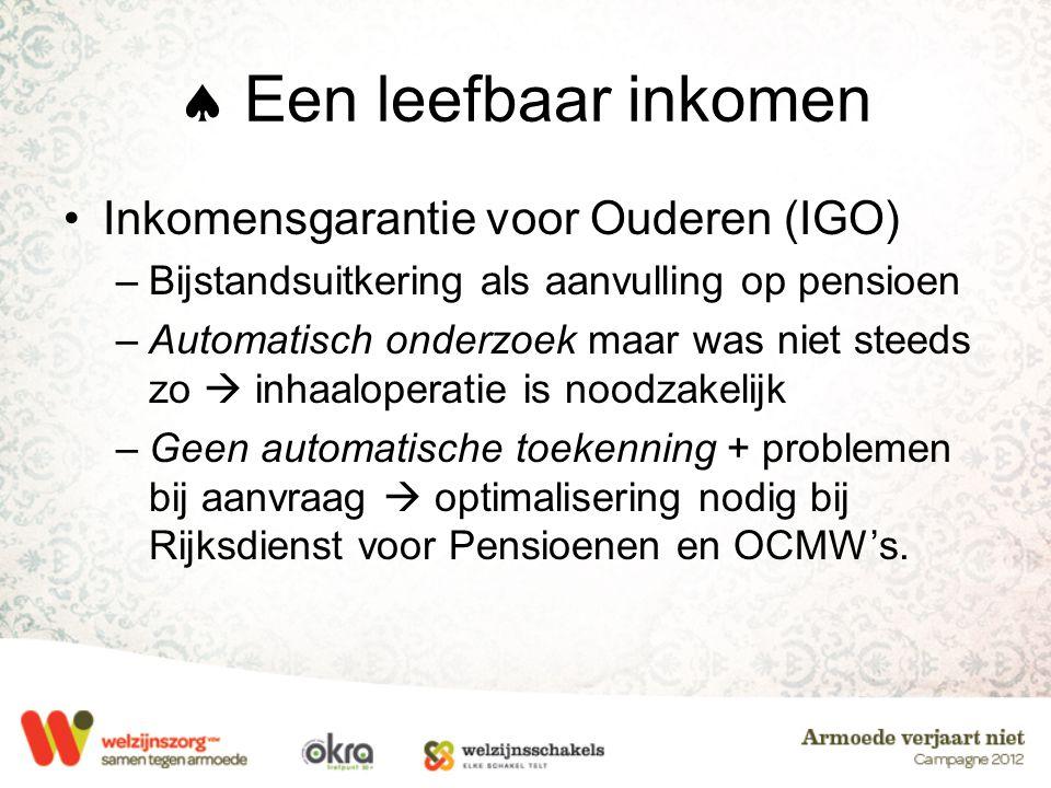  Een leefbaar inkomen •Inkomensgarantie voor Ouderen (IGO) –Bijstandsuitkering als aanvulling op pensioen –Automatisch onderzoek maar was niet steeds