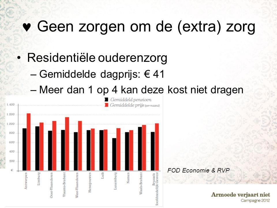  Geen zorgen om de (extra) zorg •Residentiële ouderenzorg –Gemiddelde dagprijs: € 41 –Meer dan 1 op 4 kan deze kost niet dragen FOD Economie & RVP