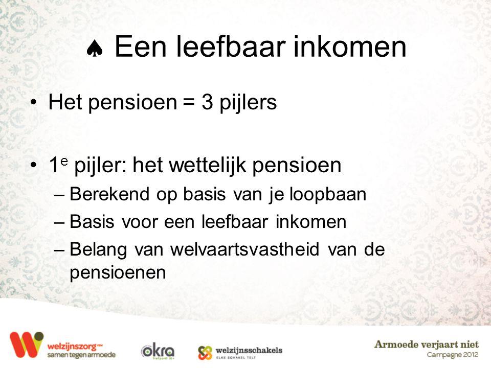  Een leefbaar inkomen •Het pensioen = 3 pijlers •1 e pijler: het wettelijk pensioen –Berekend op basis van je loopbaan –Basis voor een leefbaar inkom