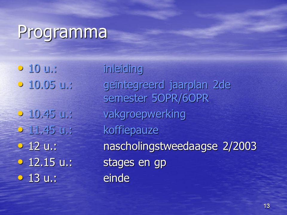 13 Programma • 10 u.:inleiding • 10.05 u.: geïntegreerd jaarplan 2de semester 5OPR/6OPR • 10.45 u.: vakgroepwerking • 11.45 u.: koffiepauze • 12 u.: nascholingstweedaagse 2/2003 • 12.15 u.:stages en gp • 13 u.: einde