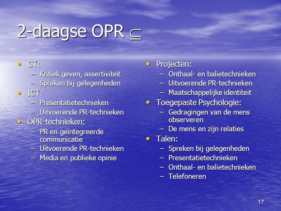 17 2-daagse OPR  • GT: –Kritiek geven, assertiviteit –Spreken bij gelegenheden • ICT: –Presentatietechnieken –Uitvoerende PR-technieken • OPR-technie