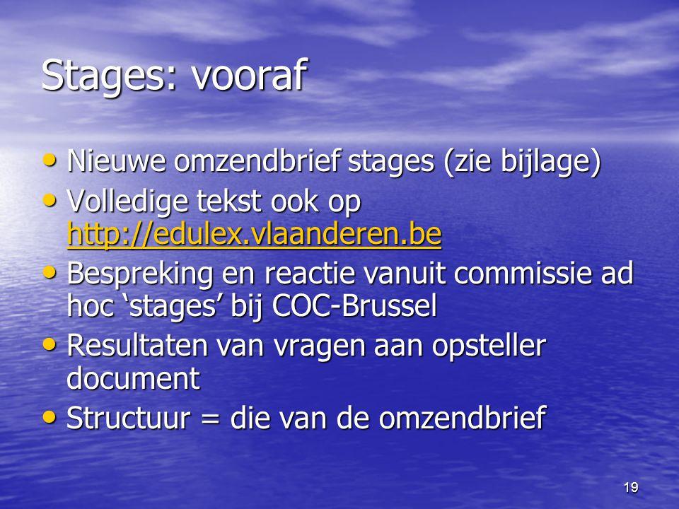 19 Stages: vooraf • Nieuwe omzendbrief stages (zie bijlage) • Volledige tekst ook op http://edulex.vlaanderen.be http://edulex.vlaanderen.be • Bespreking en reactie vanuit commissie ad hoc 'stages' bij COC-Brussel • Resultaten van vragen aan opsteller document • Structuur = die van de omzendbrief