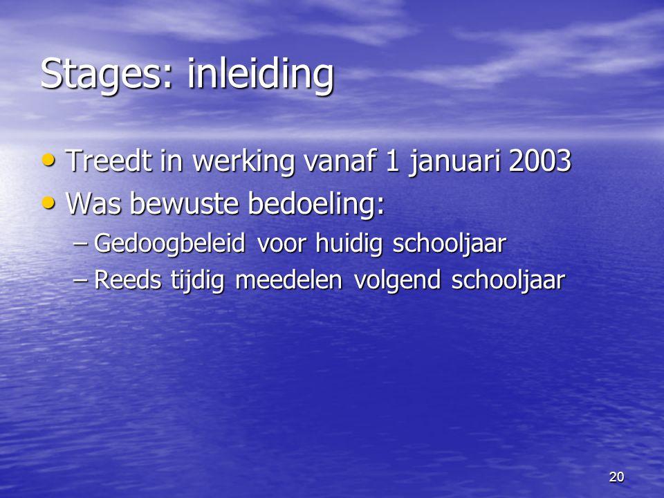 20 Stages: inleiding • Treedt in werking vanaf 1 januari 2003 • Was bewuste bedoeling: –Gedoogbeleid voor huidig schooljaar –Reeds tijdig meedelen volgend schooljaar
