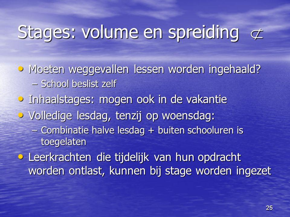 25 Stages: volume en spreiding  • Moeten weggevallen lessen worden ingehaald? –School beslist zelf • Inhaalstages: mogen ook in de vakantie • Volledi