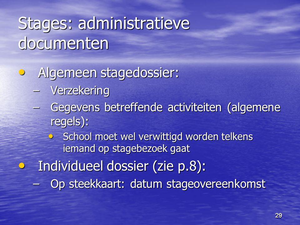 29 Stages: administratieve documenten • Algemeen stagedossier: –Verzekering –Gegevens betreffende activiteiten (algemene regels): • School moet wel ve
