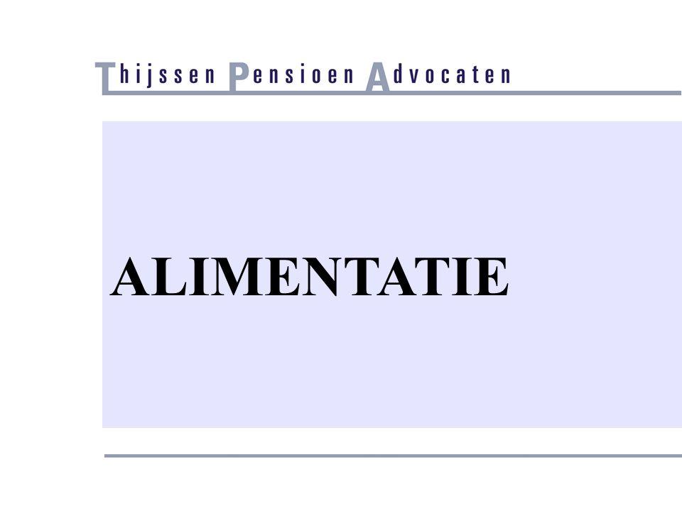 Alimentatie/Cumulatie/Rechtspraak (2) • Alimentatie eindigde door ingang recht op pensioenverevening (PJ 1995/20) • NB: dat is beslist geen regel maar de uitkomst van toepassing van de Tremanormen • Vgl.