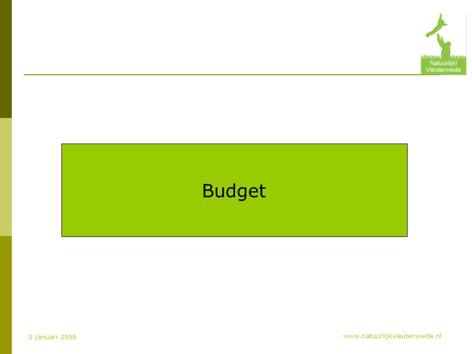 www.natuurlijkvleuterweide.nl 5 januari 2009 Budget