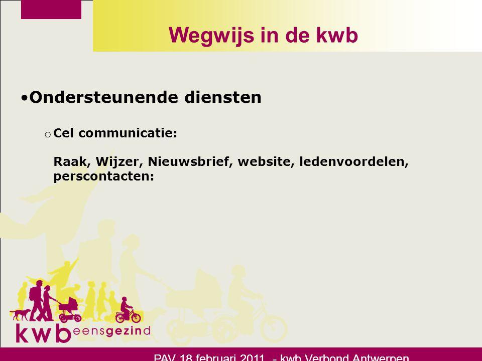 Wegwijs in de kwb •Ondersteunende diensten o Cel communicatie: Raak, Wijzer, Nieuwsbrief, website, ledenvoordelen, perscontacten: PAV 18 februari 2011