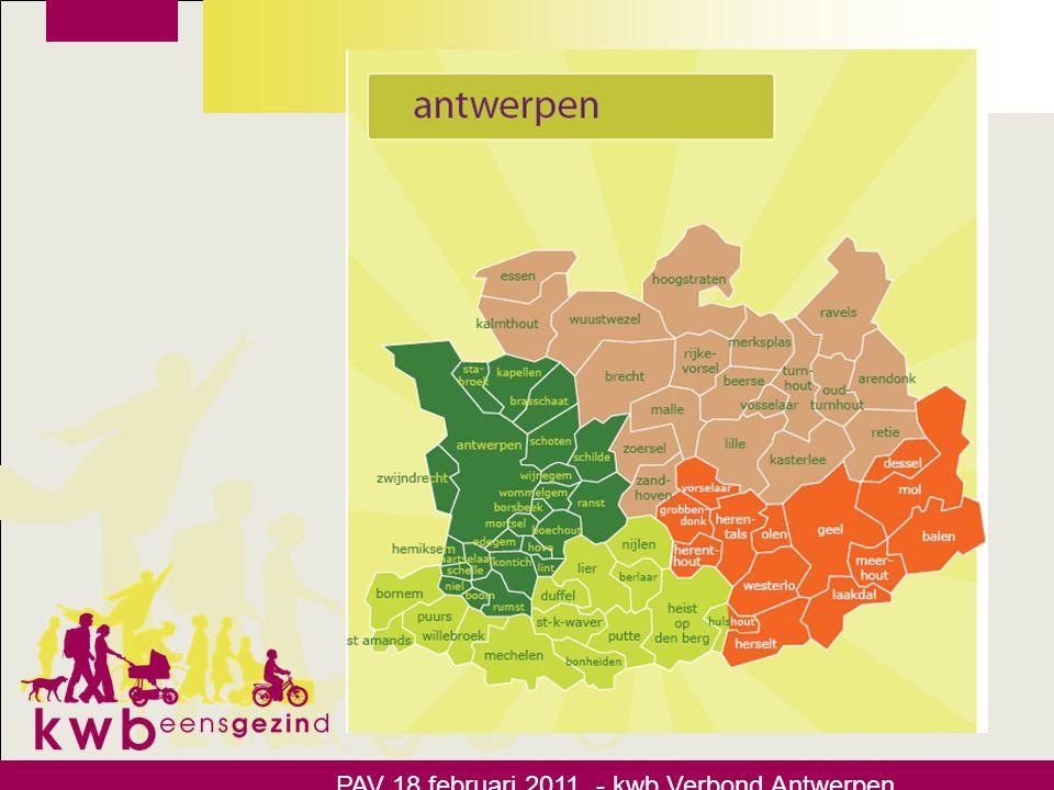 Wegwijs in de kwb •Begeleiding van de afdelingen door 4 afdelingondersteuners o Regio Antwerpen: steven.buelens@kwb.be 0472/600208 PAV 18 februari 2011 - kwb Verbond Antwerpen