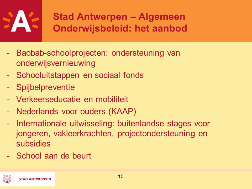 10 Stad Antwerpen – Algemeen Onderwijsbeleid: het aanbod -Baobab-schoolprojecten: ondersteuning van onderwijsvernieuwing -Schooluitstappen en sociaal fonds -Spijbelpreventie -Verkeerseducatie en mobiliteit -Nederlands voor ouders (KAAP) -Internationale uitwisseling: buitenlandse stages voor jongeren, vakleerkrachten, projectondersteuning en subsidies -School aan de beurt