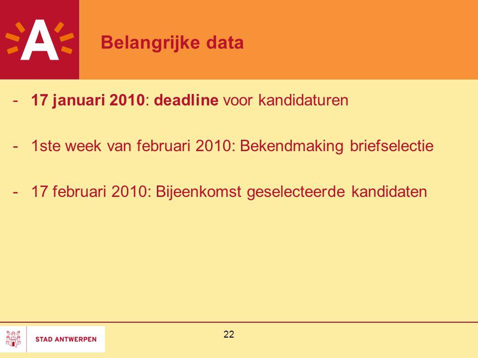 22 Belangrijke data -17 januari 2010: deadline voor kandidaturen -1ste week van februari 2010: Bekendmaking briefselectie -17 februari 2010: Bijeenkomst geselecteerde kandidaten