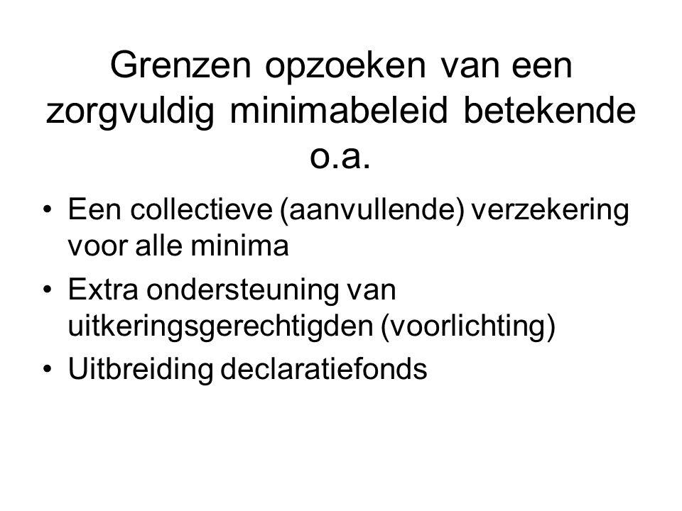 Grenzen opzoeken van een zorgvuldig minimabeleid betekende o.a.