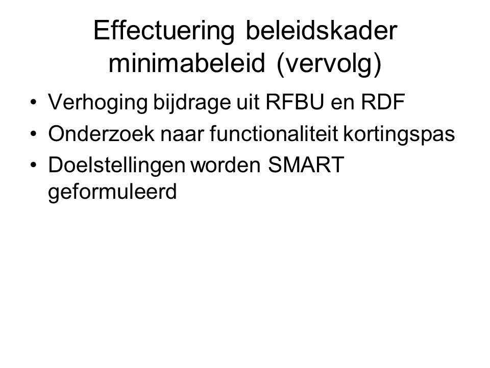 Effectuering beleidskader minimabeleid (vervolg) •Verhoging bijdrage uit RFBU en RDF •Onderzoek naar functionaliteit kortingspas •Doelstellingen worden SMART geformuleerd