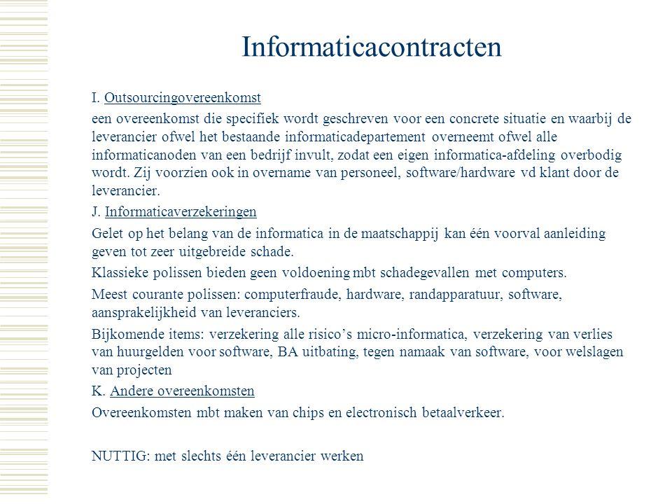 Informaticacontracten F. Escrowovereenkomst een overeenkomst waarbij de broncode van de software in bewaring wordt gegeven aan een derde en waarbij wo