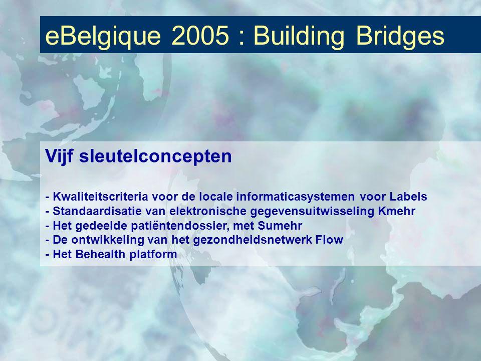 eBelgique 2005 : Building Bridges Vijf sleutelconcepten - Kwaliteitscriteria voor de locale informaticasystemen voor Labels - Standaardisatie van elektronische gegevensuitwisseling Kmehr - Het gedeelde patiëntendossier, met Sumehr - De ontwikkeling van het gezondheidsnetwerk Flow - Het Behealth platform