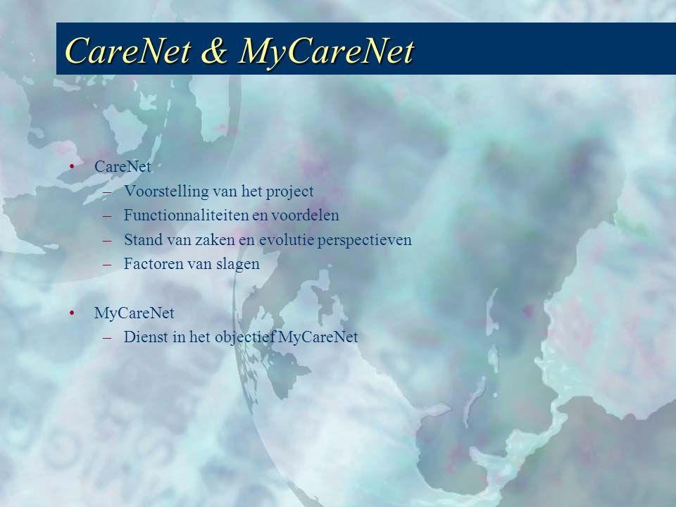 CareNet & MyCareNet •CareNet –Voorstelling van het project –Functionnaliteiten en voordelen –Stand van zaken en evolutie perspectieven –Factoren van slagen •MyCareNet –Dienst in het objectief MyCareNet
