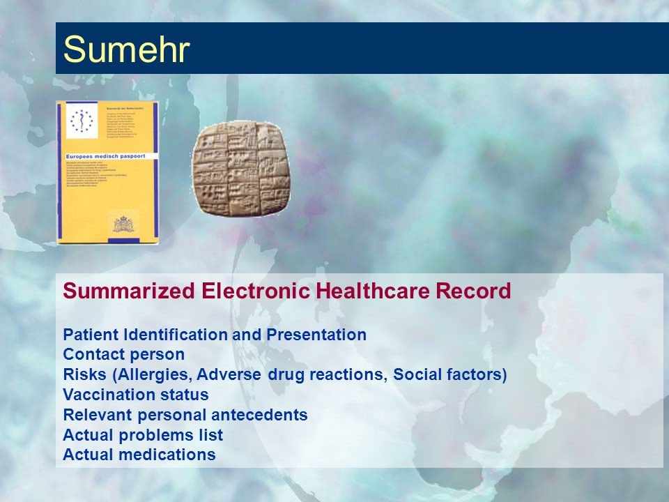 Summarized Electronic Healthcare Record Patient Identification and Presentation Contact person Risks (Allergies, Adverse drug reactions, Social factors) Vaccination status Relevant personal antecedents Actual problems list Actual medications Sumehr