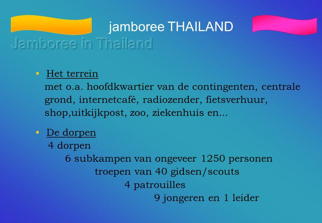 jamboree THAILAND •Het terrein met o.a. hoofdkwartier van de contingenten, centrale grond, internetcafé, radiozender, fietsverhuur, shop,uitkijkpost,