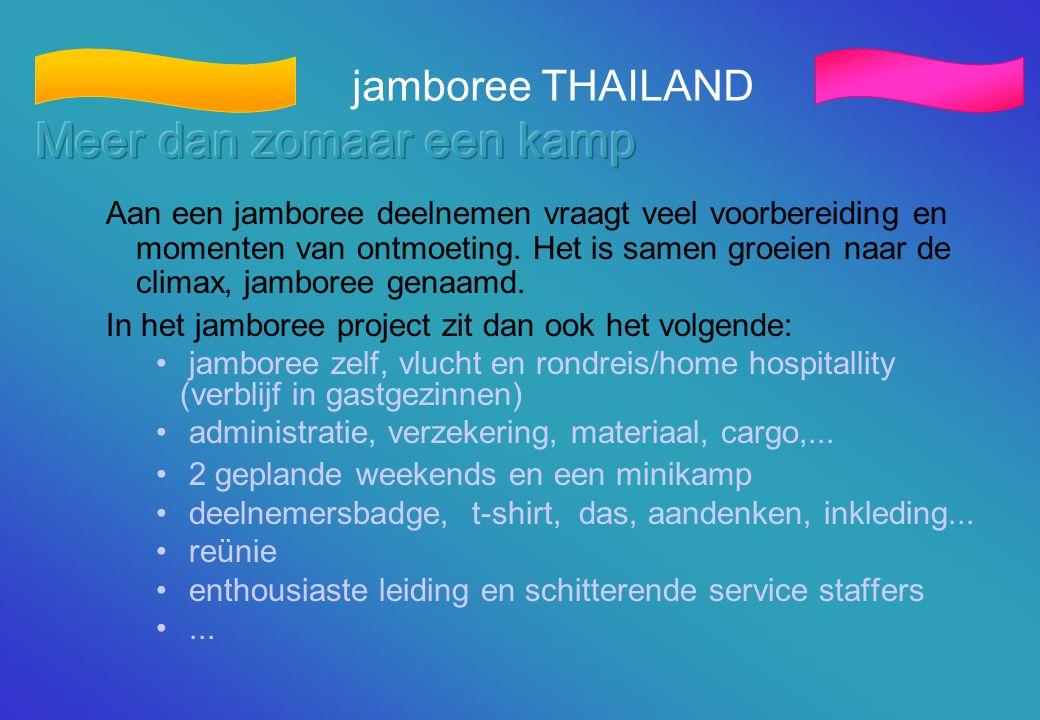jamboree THAILAND Aan een jamboree deelnemen vraagt veel voorbereiding en momenten van ontmoeting. Het is samen groeien naar de climax, jamboree genaa