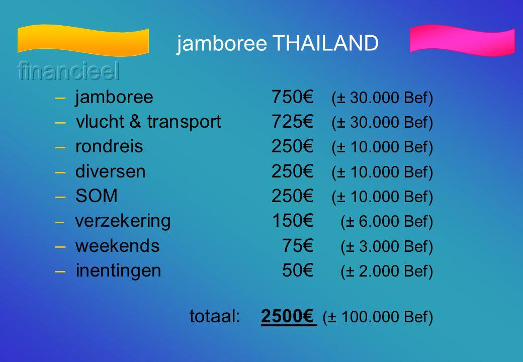 jamboree THAILAND – jamboree750€ (± 30.000 Bef) – vlucht & transport725€ (± 30.000 Bef) – rondreis250€ (± 10.000 Bef) – diversen250€ (± 10.000 Bef) –