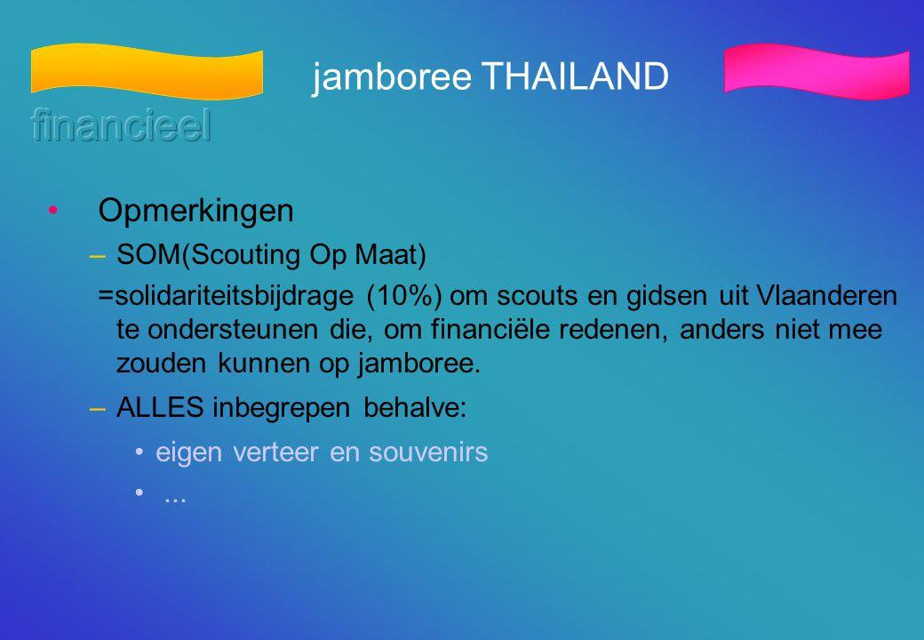 jamboree THAILAND • Opmerkingen –SOM(Scouting Op Maat) =solidariteitsbijdrage (10%) om scouts en gidsen uit Vlaanderen te ondersteunen die, om financi