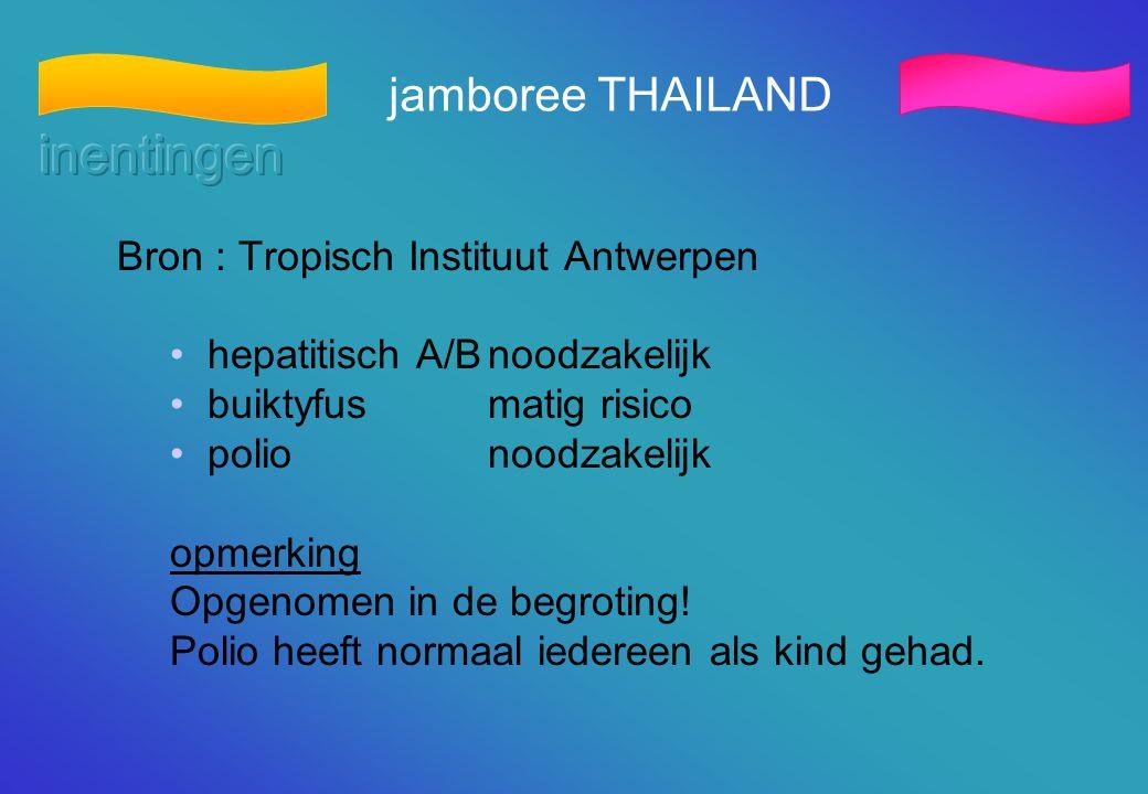 jamboree THAILAND Bron : Tropisch Instituut Antwerpen • hepatitisch A/Bnoodzakelijk • buiktyfusmatig risico • polionoodzakelijk opmerking Opgenomen in