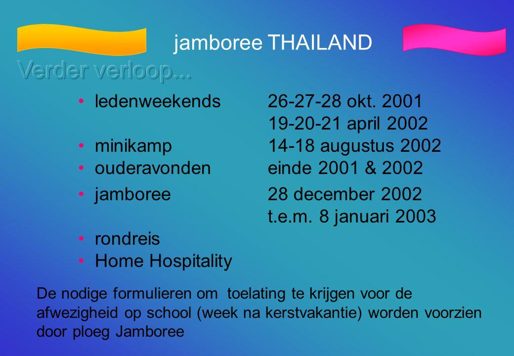 jamboree THAILAND • ledenweekends26-27-28 okt. 2001 19-20-21 april 2002 • minikamp14-18 augustus 2002 • ouderavonden einde 2001 & 2002 • jamboree 28 d