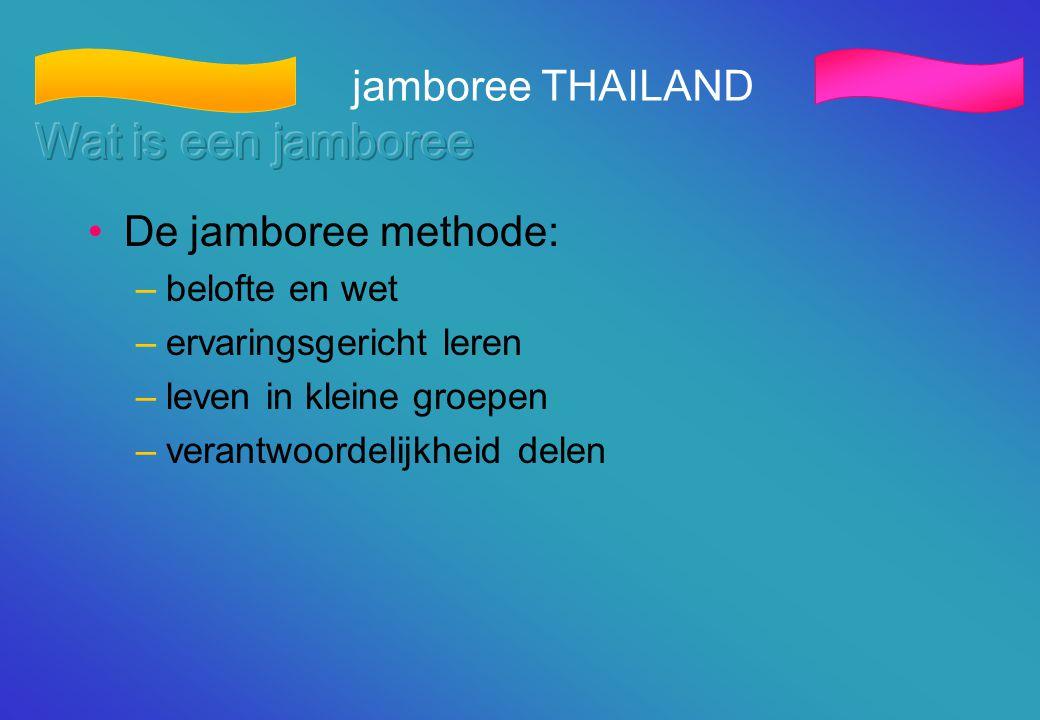 •De jamboree methode: –belofte en wet –ervaringsgericht leren –leven in kleine groepen –verantwoordelijkheid delen jamboree THAILAND
