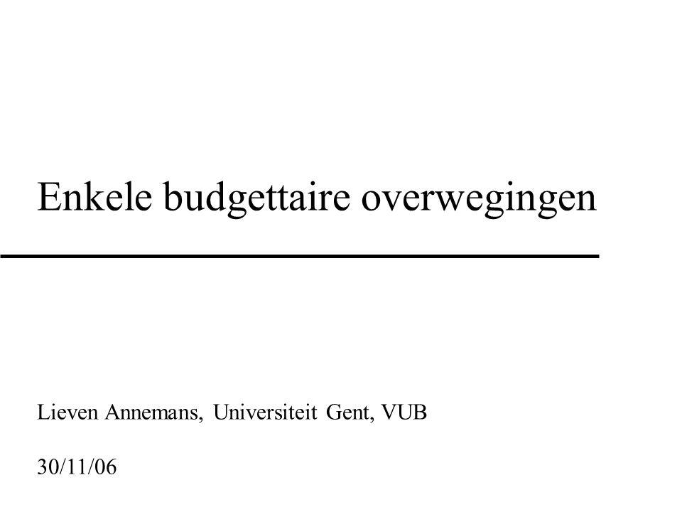Enkele budgettaire overwegingen Lieven Annemans, Universiteit Gent, VUB 30/11/06