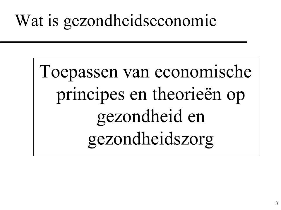 3 Wat is gezondheidseconomie Toepassen van economische principes en theorieën op gezondheid en gezondheidszorg