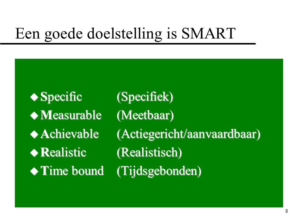 8 Een goede doelstelling is SMART u Specific (Specifiek) u Measurable(Meetbaar) u Achievable(Actiegericht/aanvaardbaar) u Realistic(Realistisch) u Time bound (Tijdsgebonden)