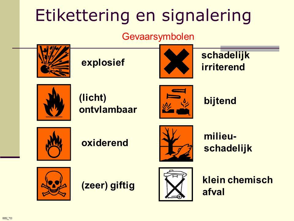 6652_700 (licht) ontvlambaar explosief bijtendoxiderend schadelijk irriterend (zeer) giftig milieu- schadelijk klein chemisch afval Gevaarsymbolen Etikettering en signalering