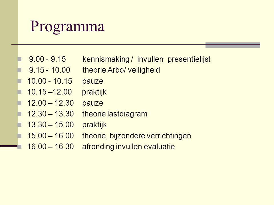 Programma  9.00 - 9.15 kennismaking / invullen presentielijst  9.15 - 10.00 theorie Arbo/ veiligheid  10.00 - 10.15 pauze  10.15 –12.00 praktijk  12.00 – 12.30 pauze  12.30 – 13.30 theorie lastdiagram  13.30 – 15.00 praktijk  15.00 – 16.00 theorie, bijzondere verrichtingen  16.00 – 16.30 afronding invullen evaluatie