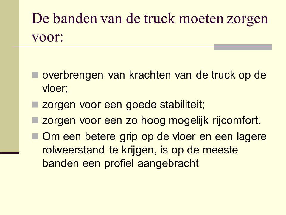 De banden van de truck moeten zorgen voor:  overbrengen van krachten van de truck op de vloer;  zorgen voor een goede stabiliteit;  zorgen voor een zo hoog mogelijk rijcomfort.