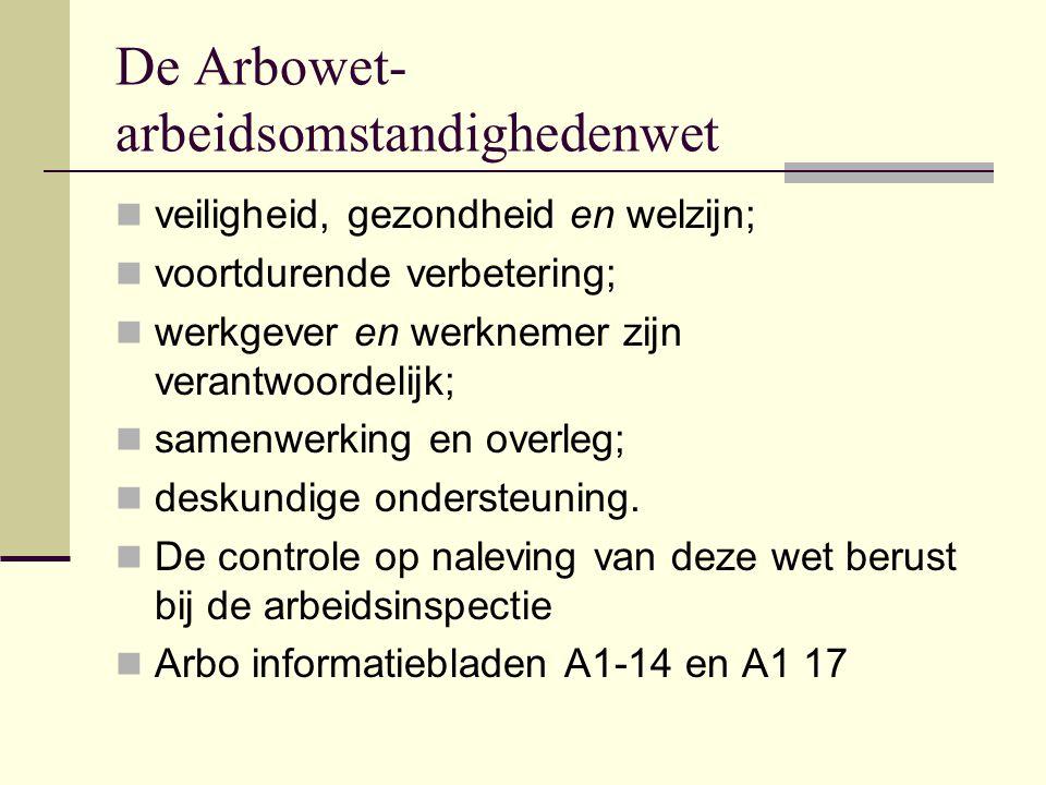 De Arbowet- arbeidsomstandighedenwet  veiligheid, gezondheid en welzijn;  voortdurende verbetering;  werkgever en werknemer zijn verantwoordelijk;  samenwerking en overleg;  deskundige ondersteuning.