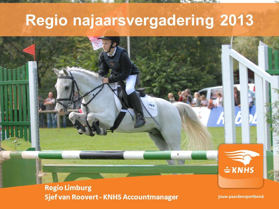 Regio najaarsvergadering 2013 Regio Limburg Sjef van Roovert - KNHS Accountmanager