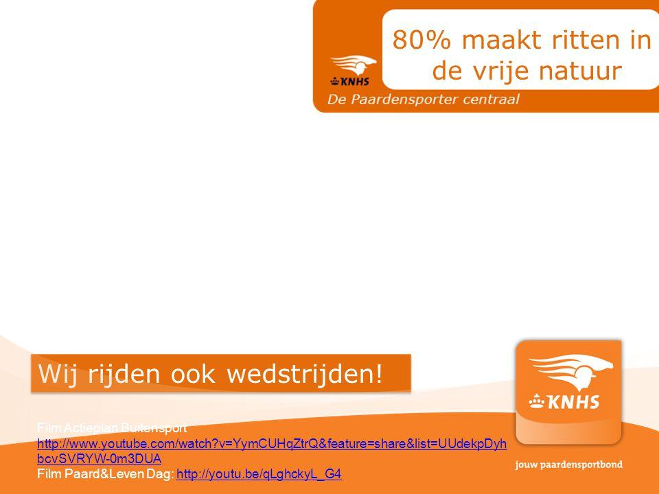Wij rijden ook wedstrijden! 80% maakt ritten in de vrije natuur Film Actieplan Buitensport http://www.youtube.com/watch?v=YymCUHqZtrQ&feature=share&li