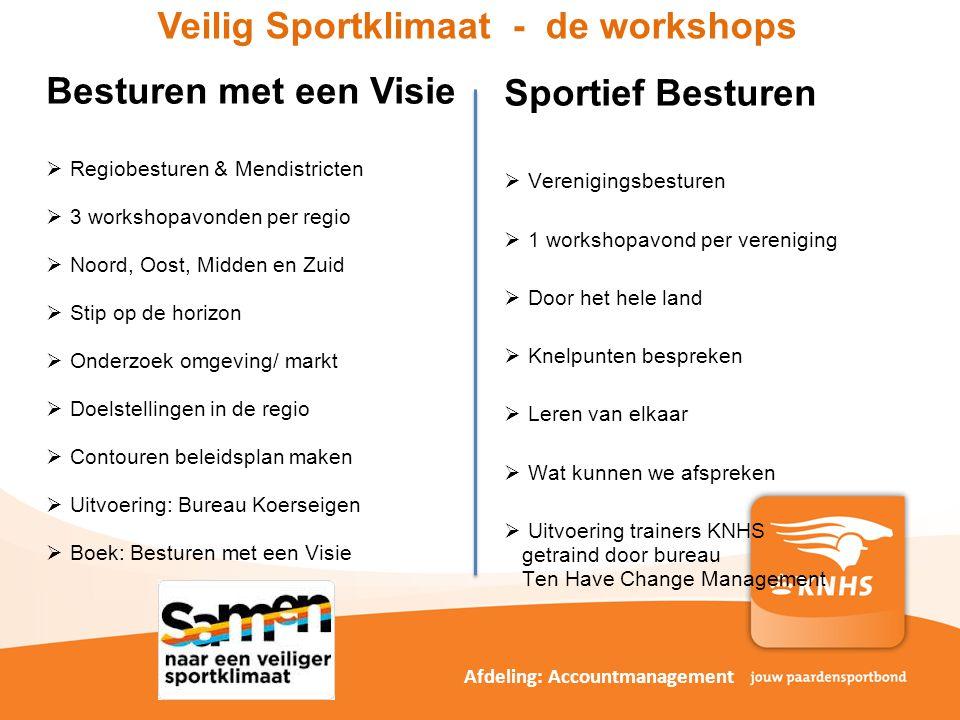 Veilig Sportklimaat - de workshops Sportief Besturen  Verenigingsbesturen  1 workshopavond per vereniging  Door het hele land  Knelpunten bespreke