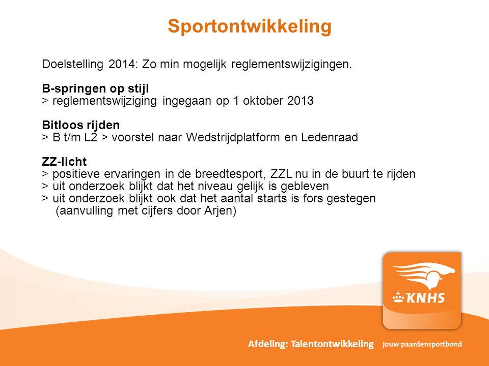 pag. Sportontwikkeling Afdeling: Talentontwikkeling Doelstelling 2014: Zo min mogelijk reglementswijzigingen. B-springen op stijl > reglementswijzigin