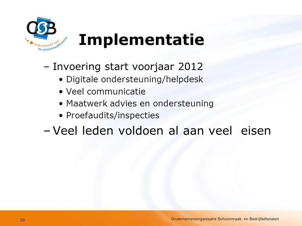 Implementatie –Invoering start voorjaar 2012 •Digitale ondersteuning/helpdesk •Veel communicatie •Maatwerk advies en ondersteuning •Proefaudits/inspecties –Veel leden voldoen al aan veel eisen 20