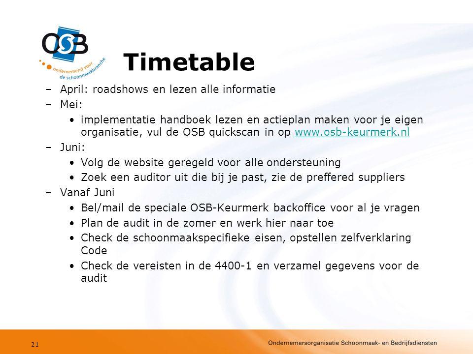Timetable –April: roadshows en lezen alle informatie –Mei: •implementatie handboek lezen en actieplan maken voor je eigen organisatie, vul de OSB quickscan in op www.osb-keurmerk.nlwww.osb-keurmerk.nl –Juni: •Volg de website geregeld voor alle ondersteuning •Zoek een auditor uit die bij je past, zie de preffered suppliers –Vanaf Juni •Bel/mail de speciale OSB-Keurmerk backoffice voor al je vragen •Plan de audit in de zomer en werk hier naar toe •Check de schoonmaakspecifieke eisen, opstellen zelfverklaring Code •Check de vereisten in de 4400-1 en verzamel gegevens voor de audit 21