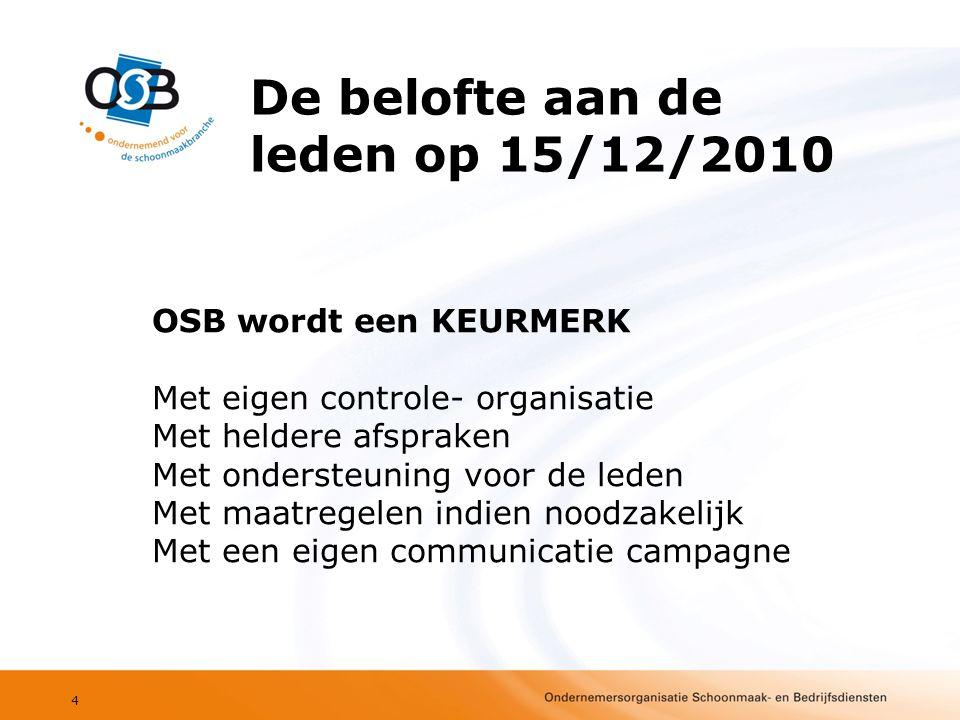 OSB wordt een KEURMERK Met eigen controle- organisatie Met heldere afspraken Met ondersteuning voor de leden Met maatregelen indien noodzakelijk Met een eigen communicatie campagne 4 De belofte aan de leden op 15/12/2010
