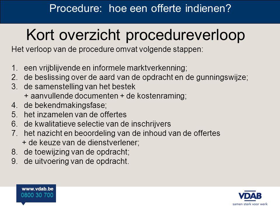 www.vdab.be 0800 30 700 Procedure: hoe een offerte indienen? Kort overzicht procedureverloop Het verloop van de procedure omvat volgende stappen: 1. e