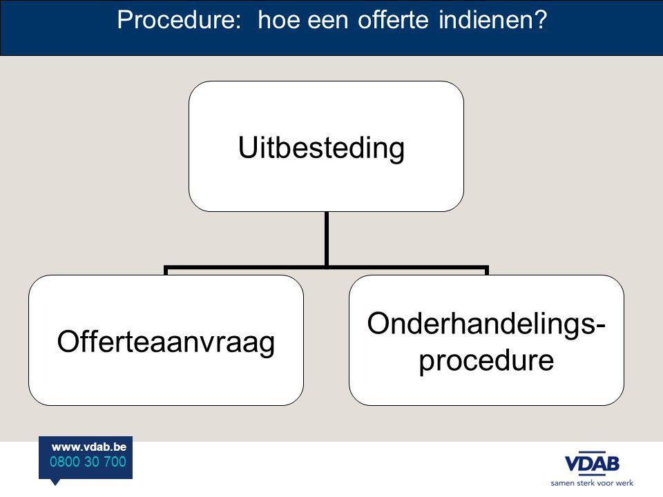 www.vdab.be 0800 30 700 Procedure: hoe een offerte indienen? Uitbesteding Offerteaanvraag Onderhandelings- procedure