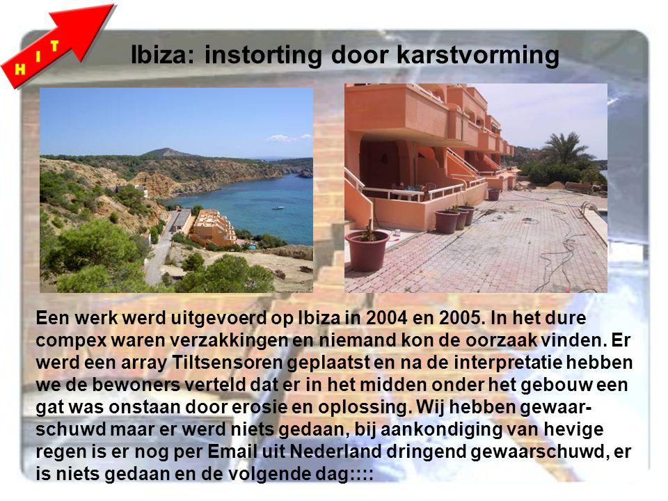 Ibiza: instorting door karstvorming Een werk werd uitgevoerd op Ibiza in 2004 en 2005.